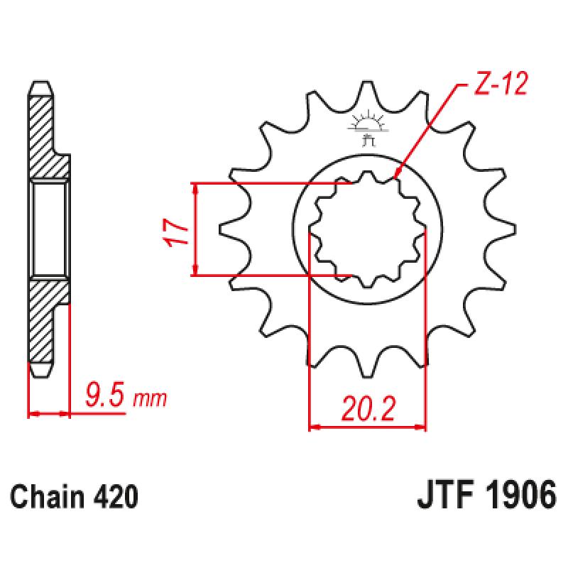 Предно зъбчато колело (пиньон) JTF1906,12