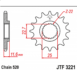Предно зъбчато колело (пиньон) JTF3221,10