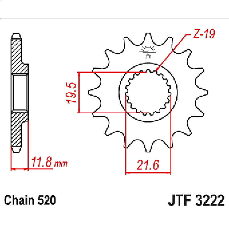 Предно зъбчато колело (пиньон) JTF3222,12