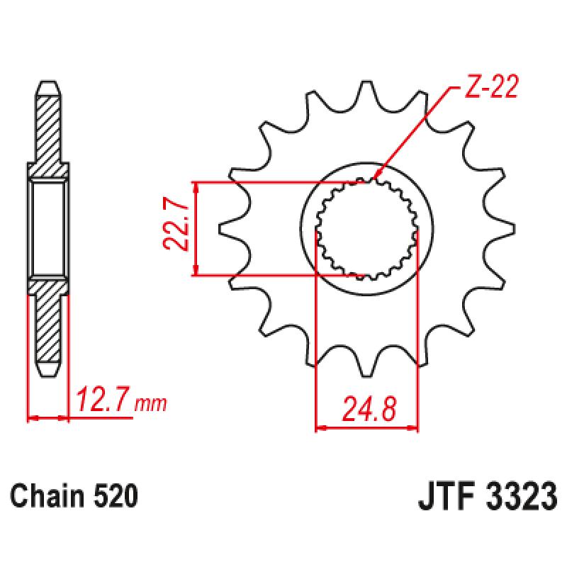 Предно зъбчато колело (пиньон) JTF3323,24