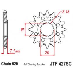 Самопочистващо се предно зъбчато колело (пиньон) JTF427SC,13