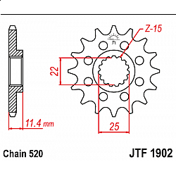 Предно зъбчато колело (пиньон) JTF1902,12