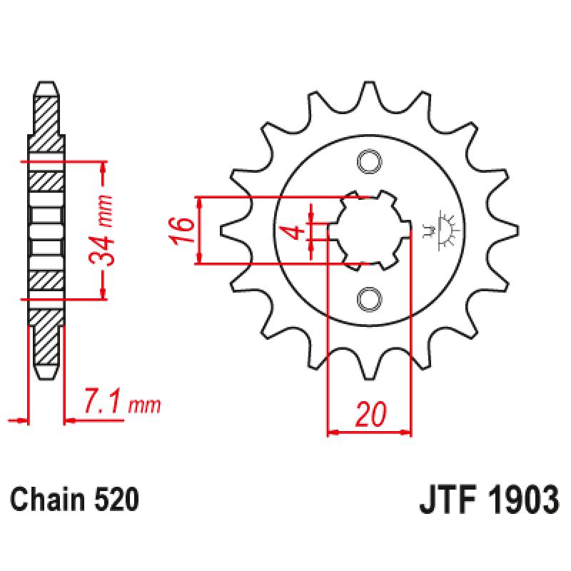 Предно зъбчато колело (пиньон) JTF1903,12
