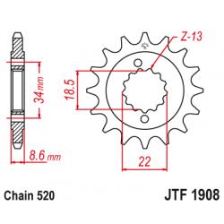 Предно зъбчато колело (пиньон) JTF1908,14