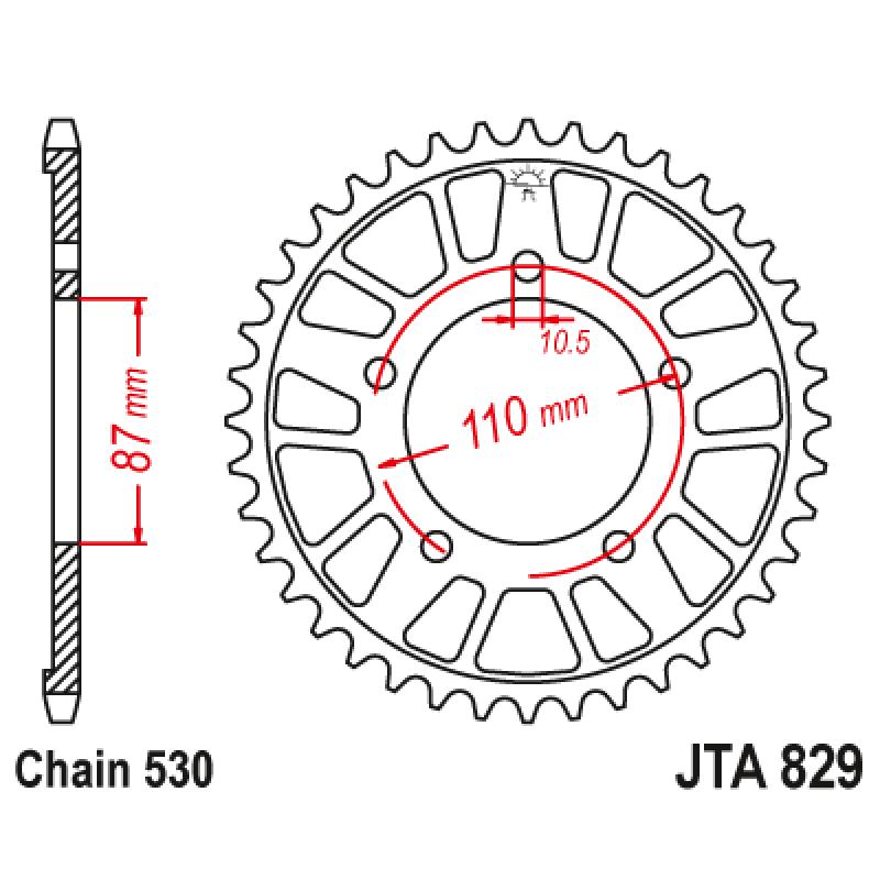 Задно зъбчато колело JTA829,45