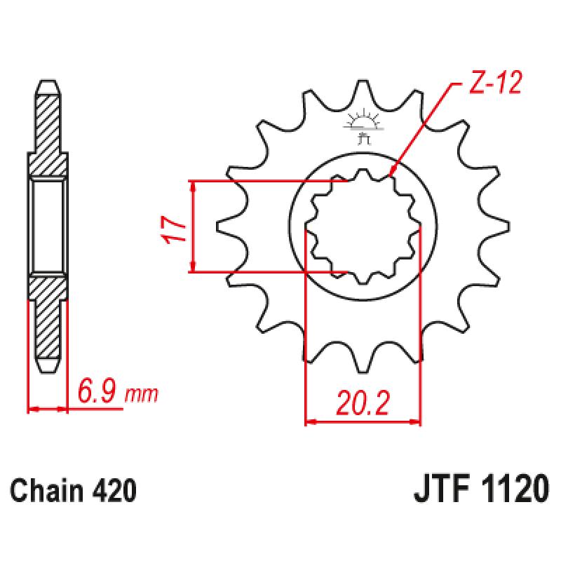 Предно зъбчато колело (пиньон) JTF1120,11