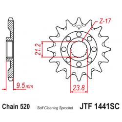 Самопочистващо се предно зъбчато колело (пиньон) JTF1441SC,14
