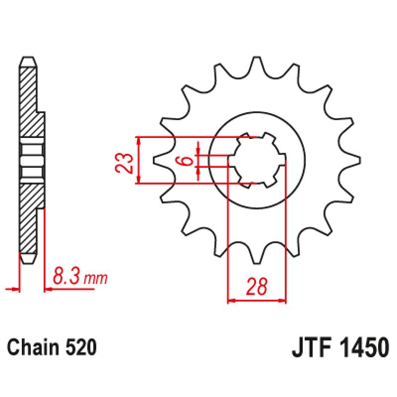 Предно зъбчато колело (пиньон) JTF1450,13