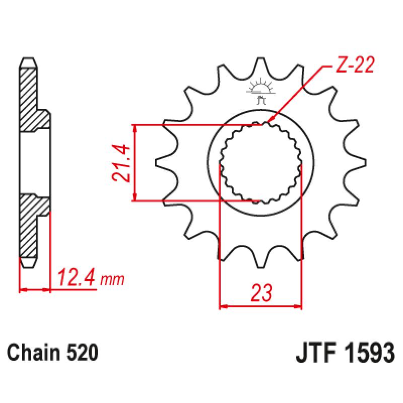 Предно зъбчато колело (пиньон) JTF1593,14